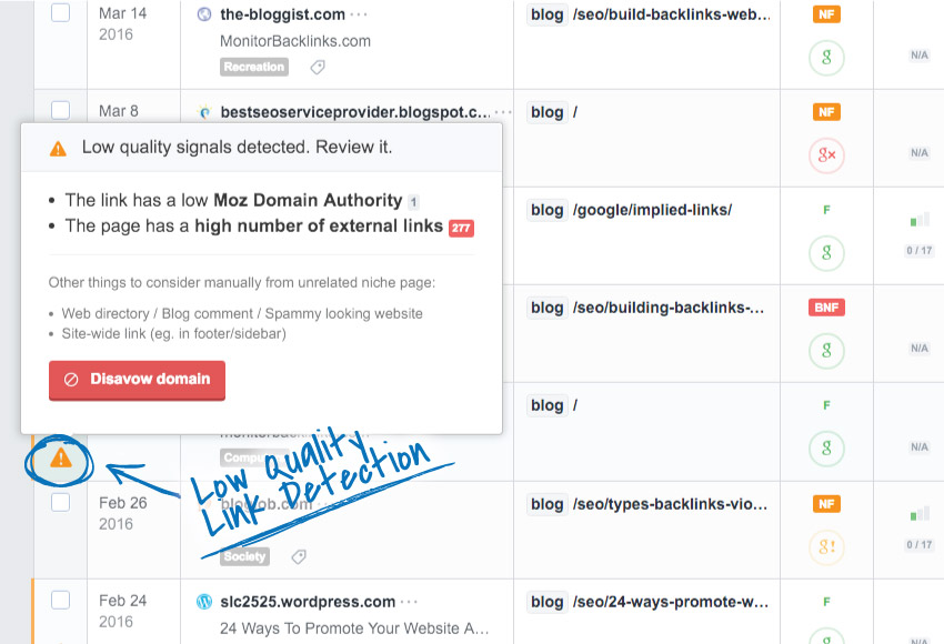 E-mail reports with backlink changes